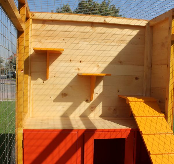 cat house with fenced play area